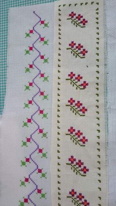 Cross Stitch Boarders, Simple Cross Stitch, Cross Stitch Flowers, Cross Stitch Designs, Cross Stitch Patterns, Hand Embroidery Design Patterns, Flower Embroidery Designs, Crochet Borders, Bead Loom Patterns