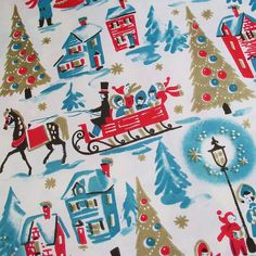 Victorian Christmas Village - Vintage Gift Wrap Wrapping Paper