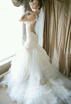 Galia Lahav inspired backless lace mermaid wedding dress 6 or custom made