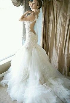 Galia Lahav inspired backless lace mermaid wedding dress 6 or custom made