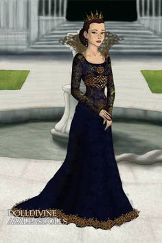 Queen in Blue and Gold ~ by AbigailNZ111 ~ created using the LotR Hobbit doll maker | DollDivine.com