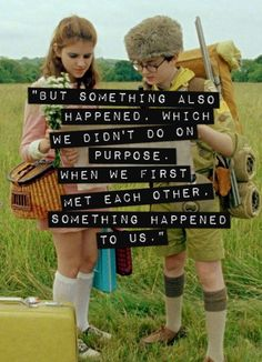Moonrise Kingdom - Sam and Suzy wes Anderson I love you Moonrise Kingdom Quotes, Wes Anderson Movies, The Royal Tenenbaums, Movie Quotes, Make Me Happy, Words Quotes, Good Movies, Movies And Tv Shows, Event Posters