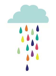 Rainbow Raindrops | jenimdesign via Etsy