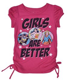 DC Comics Girls Pink Glitter Side Tie T-Shirt Wonder Woman Batgirl Supergirl