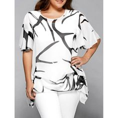 Printed Chiffon Asymmetric Plus Size Blouse - WHITE 2XL