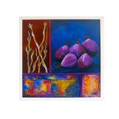 ORIGINAL Mixed media. 15'x15'. Purple. Figs. by GaleriaArlette