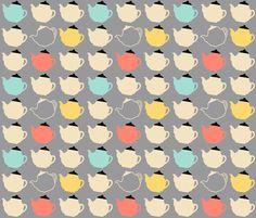 teapots fabric by oleynikka on Spoonflower - custom fabric