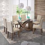 Conjunto Sala De Jantar Mesa Flávia 6 Cadeiras Milena 180cm Cimol Marrocos/Suede Bege