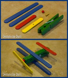 Build an aeroplane from craft sticks and a peg