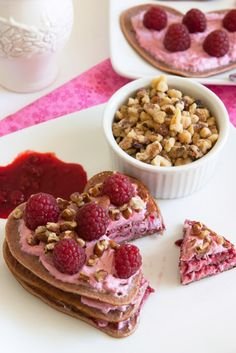 Raspberry Cream Cheese Heart Shaped Pancakes at FamilyFreshCooking.com ©Marla Meridith Photography #hearts #Valentine #pink #breakfast #brunch #shower