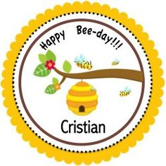 Adorable party favor tag for your child's Bee Theme Birthday Party.  Other party supplies include cake & cupcake supplies, decorations, party favors, invitations and tableware.