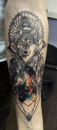 45 Sick ass wolf tattoo