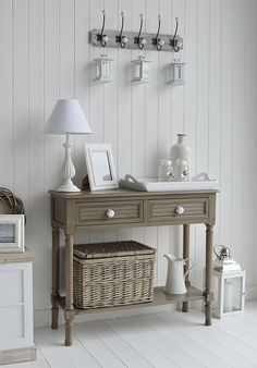 The White Lighthouse Newport French Grey Console Table For Hallway Furniture.  How To Decorate Your Home In New England And Coastal Style Interior Decor  ...