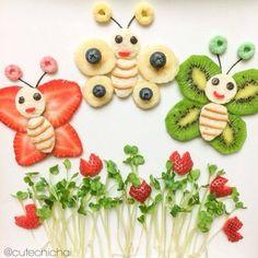 Garden Butterflies Fruit Art; Featuring Bananas,Kiwi,Strawberries,Blueberries & Fruit Loops Cereal.