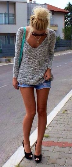 sweater, denim shorts @roressclothes closet ideas #women fashion outfit #clothing style apparel