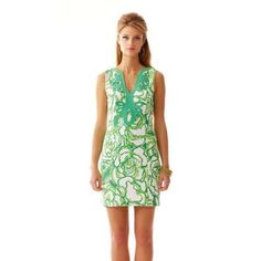 "Janice Knit Shift Dress Printed shift dress in ""Heart Breaker"" pattern, with v-neck and lace detail at notched neckline. 19' from natural waist to hem. Ottoman printed. Lilly Pulitzer Dresses"
