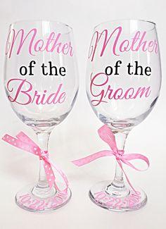 c5d51e9bf61 Mother of the Bride/Groom Glass Set (2), Mother of the Bride Wine Glass,  Mother of the Groom Wine Glass, Wedding Glass Set