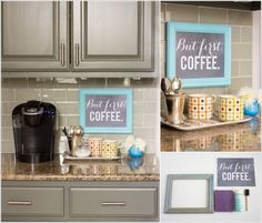 This idea for a monochromatic cabinet,tile example... and,10 Places in Your Home Where You Can Set Up a Coffee Station 7