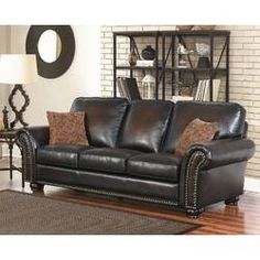 Darby Home Co Fallsburg 86 inches Rolled Arms Sofa Brown Cushions, Darby Home Co, Rolled Arm Sofa, Furniture, Sofa, Home, Abbyson Living, Top Grain Leather Sofa, Sprung Sofa