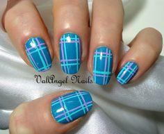 ValAngel Nails #nail #nails #nailart Plaid Nail Art, Plaid Nails, Striped Nails, Fingernail Designs, Nail Polish Designs, Nail Art Designs, J Nails, Blue Nails, Coffin Nails