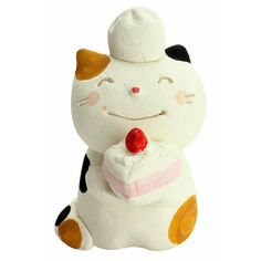 Every room has a million times more charm with a cute kitty, and now you can add that adorable touch to your own room or home with this sweet porcelain Mino ware cat from Ceramic Ai! It's made using their classic Mino ware techniques, carefully painted by hand, and given an adorable expression~ This cute kitty is a pastry chef complete with a scrumptious looking cake and chef hat, making it perfec... #tokyootakumode #toy #Cats
