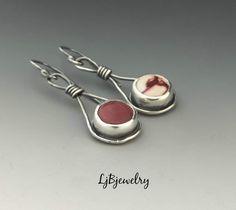 Silver Earrings, Dangle Earrings, Mookaite Earrings, Sterling Silver, Mookaite, Handmade, Metalsmith, Metalwork, Artisan Jewelry by LjBjewelry on Etsy