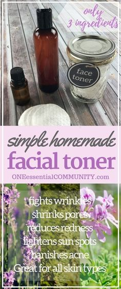 simple 3-ingredient DIY facial toner reduces redness, fights wrinkles  age spots, shrinks pores,  banishes acne. Great for all skin types. homemade facial toner with essential oils