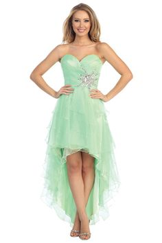 High Low Layered Prom Dress in Mint Green