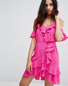 Boohoo Cold Shoulder Ruffle Mini Dress
