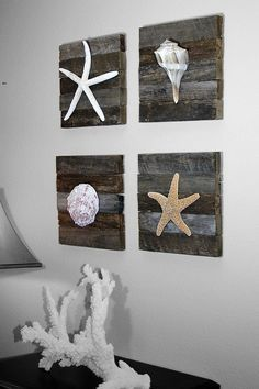 Cute ideas for beach house scrap boards and seashells  and starfish from the beach. Very high volume of pinning with this beach art! #artsandcraftshouse,
