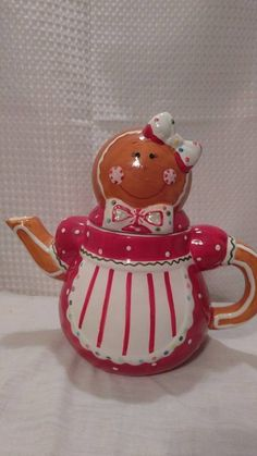Gingerbread Girl Teapot  Christmas Holiday Peppermint Cheeks Collectible