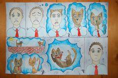 daydreaming catdreaming, watercolor, aquarel, comic, cat