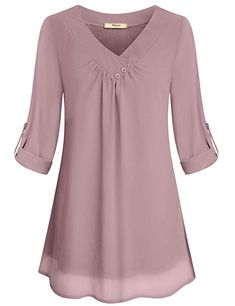Miusey Ladies Chiffon Blouses, Juniors Summer Casual V Neck Cuffed Sleeve Pleated Curved Hem Office Flattering Flowy Shirts for Leggings Lightweight Tunic Tops Pink M - BigSale Online Shopping USAMiusey Tunic Blouses Women Ladies Elegant V Neck Chiff Trendy Boy Outfits, Plus Size Outfits, Blouse Styles, Blouse Designs, Tunic Tops For Leggings, Knit Leggings, Plus Size Clothing Online, Trendy Clothing, Layered Fashion