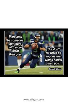 Ready to frame inspirational poster. Russell Wilson motivational football poster.