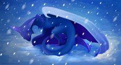 dragon, snow, wiiolis, blue, fantasy
