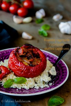 Roasted Ratatouille stuffed red peppers #vegetarian #zerobellydiet sub quinoa for couscous!