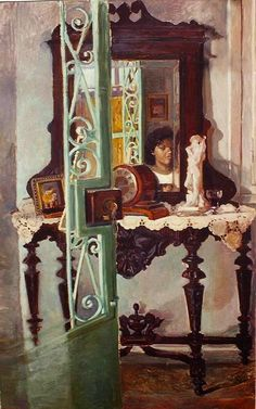 Artodyssey: Smaragda Papoulia - Emerald Papoulia-Vasilakoudi - Παπούλια Σμαράγδα Painter Artist, Greek Art, Contemporary Art, Mirror, Drawings, Illustration, Modern, Artwork, Painting