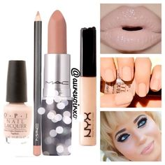 Give me nude!  •Lip Liner: Mac - Cork •Lipstick: Mac - Myth •Lip Gloss: NYX - Beige Pearl  •Nail Polish: OPI - Don't Pretzel My Buttons - @aurevoirxo- #webstagram