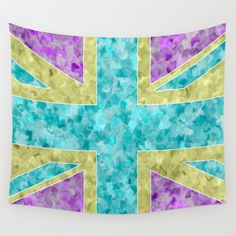 Floral Union Jack Wall Tapestry - $39.00  #Walldecor #throw #homedecor #dorm #festival #flag #floral #UnionJack #London #turquoise #gold #purple #abstract