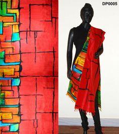 Red color hand-painted dupatta – Panache Haute Couture
