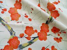 Tissu Jardin Japonais et fleurs de cerisier Alexander Henry or et Gris 20x110cm : Tissus à thème par createurs-francais