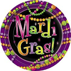 "Custom & Unique {9"" Inch} 8 Count Multi-Pack Set of Medium Size Round Disposable Paper Plates w/ Happy Mardi Gras Beads Celebration Party Event ""Purple, Yellow, Green & Pink Colored"" mySimple Products"