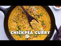 This quick and easy chickpea curry recipe is a staple for an easy weeknight dinner, made with spices and coconut milk. On the table in about 20 minutes. Spicy Vegetarian Recipes, Pea Recipes, Milk Recipes, Curry Recipes, Indian Food Recipes, Cooking Recipes, Easy Chickpea Curry, Lentil Curry, Coconut Milk
