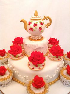Teapot and Roses cake