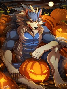 e621 abs biceps canine darkstalkers fur gallon halloween holidays jon_talbain male mammal muscular muscular_male pecs rabbity video_games were werewolf