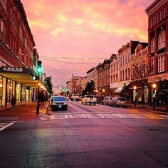 A stunning pink sky casts a glow on Savannah's Broughton St.