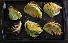 Roasted Cabbage Wedge Salad - 1 head cabbage - this was Savory - olive oil - kosher salt - For the Vinaigrette - sherry vinegar - Dijon mustard Savoy Cabbage, Napa Cabbage, Cabbage Salad, Roasted Cabbage Recipes, Roasted Cabbage Wedges, Healthy Appetizers, Appetizer Recipes, Healthy Recipes, Wedge Salad