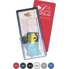 Never worry about losing your winning ticket again! This lottery ticket holder features two clear view pockets and is designed to hold both small and large vouchers. Provides incredible advertising opportunities for race tracks, casinos, markets, and convenience stores. Fits easily into briefcases, purses, and bags. Keep everything from your favorite lotteries and games in one secure place. Now that's the ticket!