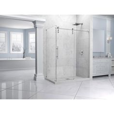 DreamLine offers door and panel shower enclosure options for your bathroom.DreamLine shower enclosures compliment this style with seamless designs and contemporary flair. Frameless Sliding Shower Doors, Glass Shower Doors, Dreamline Shower, Bathroom Inspiration, Bathroom Ideas, Bath Ideas, Bathroom Designs, Custom Glass, Bathroom Renovations