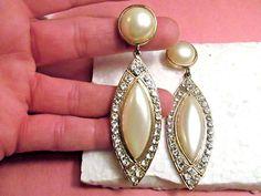 "Beautiful Vintage large 3.5"" long Pearl Rhinestone Crystals Post Back Earrings #PostDropDangle"